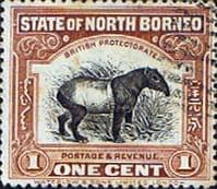 North Borneo 1909 SG 158 Black Centre Design Good Used