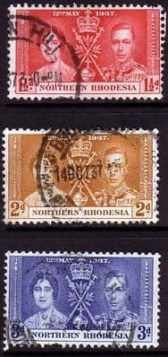 Northern Rhodesia 1937 King George VI Coronation Stamps