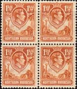 Northern Rhodesia 1938 Animals SG 30 Block of 4 Fine Mint