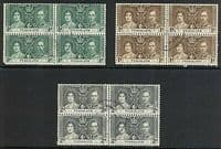 Nyasaland 1937 King George VI Coronation Fine Used Blocks of 4