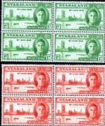Nyasaland 1946 King George VI Victory Set in Blocks of 4 Fine Mint