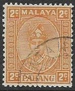 Pahang 1950 Sultan Sir Abu Bakar 2c Orange Fine Used