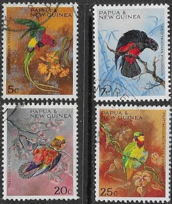 Bird Stamps Papua New Guinea 1967 Parrots Set Fine Mint SG 121/4 Scott 249/52