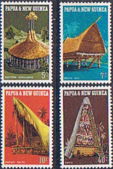 Postage Stamp Stamps Papua New Guinea 1971 Native Dwellings Set Fine Mint