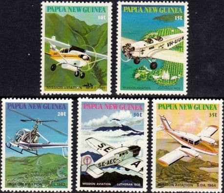 Postage Stamps Papua New Guinea 1985 Mission Aviation Set Fine Used