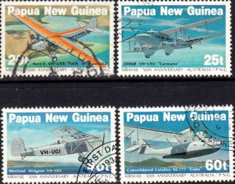 Air Mail Stamps Papua New Guinea 1984 First Airmail from Australia Set Fine Used