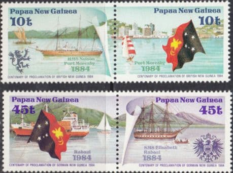 Stamps Papua New Guinea 1984 Ships Proclamations Set Tenant Pairs Fine Mint