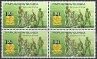 Papua New Guinea 1985 Defence Force SG 495 Surcharged Fine Mint Block of 4