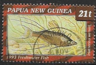 Stamps Papua New Guinea 1993 Fish Freshwater Fishes Set Fine Mint