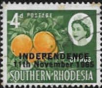 Stamps of Rhodesia 1966 Independence Overprint Fine Mint  SG 363 Scott 212  Other Rhodesian Stamps HERE