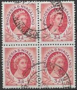 Rhodesia and Nyasaland 1954 Queen Elizabeth II SG 4 Fine Used Block of 4