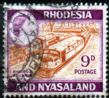 Postage Stamps Rhodesia and Nyasaland 1959 Queen Elizabeth II Rhodesian Railway Trains Fine Mint SG 24a Fine Used Scott 164A