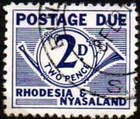 Rhodesia and Nyasaland 1961 Postage Due SG D2 Fine Used