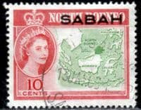 Sabah 1964 SG 412 Map of Borneo Fine Used