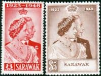Sarawak 1948 King George VI Royal Silver Wedding Set Fine Mint