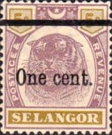 Malaya Stamps Selangor 1900 Surcharged Tiger Fine Mint SG 66a Scott 42