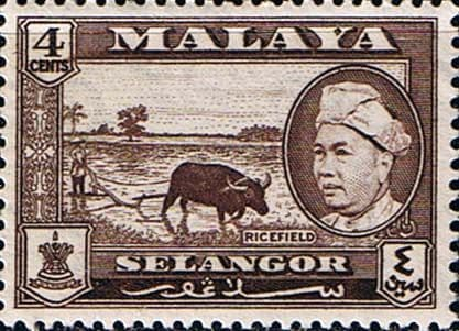 Selangor 1957 SG 118 Sultan and Rice Field Fine Mint