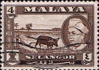 Selangor 1957 SG 118 Sultan and Rice Field Fine Used