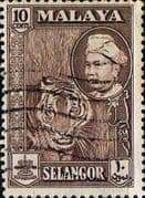 Selangor 1957 SG 121 Sultan and Tiger Fine Used