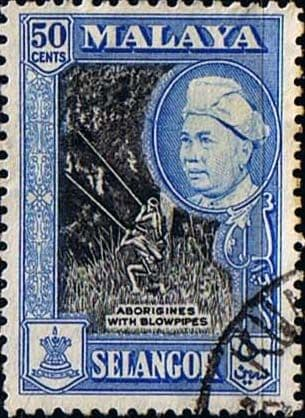 Selangor 1957 SG 124 Sultan and Aborigines and Blowpipes Fine Used