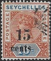 Seychelles 1893 Queen Victoria SG 18 Surcharged Fine Used