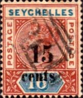 Seychelles 1893 Queen Victoria SG 19 Surcharged Fine Used