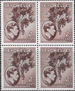 Seychelles 1938 King George VI SG 135a Fine Mint Block of 4