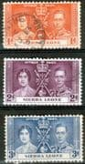 Sierra Leone 1937 King George VI Coronation Set Fine Used