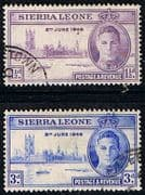 Sierra Leone 1946 King George VI Victory Set Fine Used