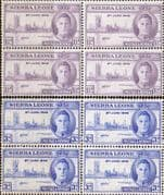 Sierra Leone 1946 King George VI Victory Set in Blocks of 4 Fine Mint