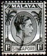 Singapore 1948 King George VI SG  1 Fine Used