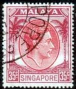 Singapore 1948 King George VI SG 25a Fine Used
