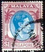Singapore 1948 King George VI SG 28 Fine Used