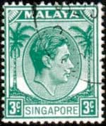 Singapore 1948 King George VI SG  3 Fine Used