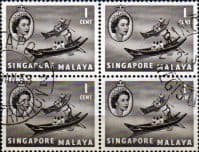Singapore 1955 Queen Elizabeth SG 38 Boat Fine Used Block of 4