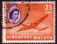 Singapore 1955 Queen Elizabeth SG 47 Plane Fine Used