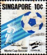 Singapore 1982 World Cup Football Championship SG 424 Fine Used
