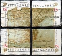 Singapore 1989 Maps Block Set Used
