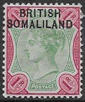 Postage Stamps Somaliland Protectorate Queen Victoria Overprint SG 1 Fine Mint Scott