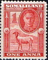 Post Stamp Somaliland Protectorate 1942 King George VI SG 106 Scott 97 Fine Mint