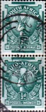 South Africa 1933 Springbok SG 54aw Vertical Pair Fine Used