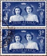 South Africa 1947 Royal Visit SG113 Vertical Pair Fine Used