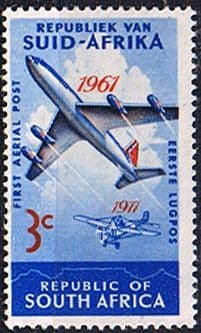 South Africa 1961 SG 220 Aerial Post Plane Fine Mint