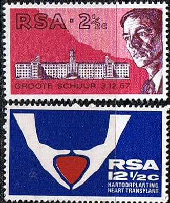 Stamps South Africa 1969 First Heart Transplant Set Fine Mint