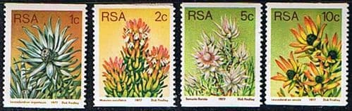 South Africa 1977 Proteas and Succulents Coil Stamps Set Fine Mint
