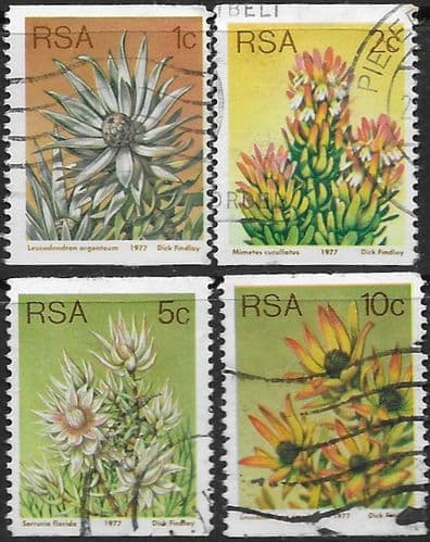 South Africa 1977 Proteas and Succulents Coil Stamps Set Fine Used