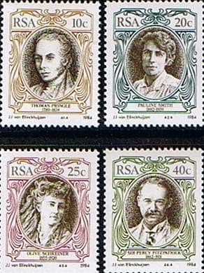 South Africa 1984 English Writers and Authors Set Fine Mint