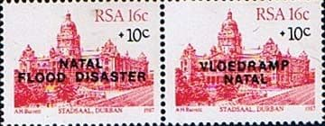 South Africa 1987 Natal Flood Disaster First Issue Pair Fine Mint