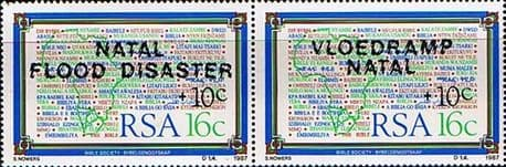 Stamps of South Africa 1987 Natal Flood Disaster Second Issue Pair Fine Mint