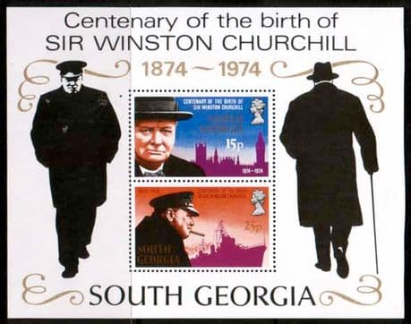 South Georgia 1974 Churchill Centenary Miniature Sheet Stamps